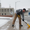 Kaden Kralicek clears a walk at SMB in Carthage on Monday.<br /> Globe | Roger Nomer