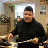 Jakobe Harris, freshman, practices his debate skills on Tuesday at Neosho High School.<br /> Globe | Roger Nomer