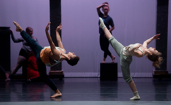 David Scheuerman and Saydi Ogdon rehearse a dance from Beauty and the Beast on Wednesday at Pittsburg's Memorial Hall.<br /> Globe | Roger Nomer