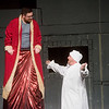 "Karl Wendt, as Scrooge, and Jeff Phillips, as the Ghost of Christmas Present, rehearse a scene from ""A Christmas Carol"" on Monday at Ozark Christian College.<br /> Globe 