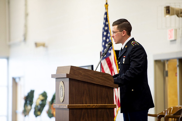 Sr. Cadet Wyatt Pressnell, a senior in the Pittsburg State University's ROTC program, gives his address during Monday's Veterans Day ceremony at the PSU Student Recreation Center. Pressnell enlisted in the Kansas Army National Guard in 2016, and will commission as a chaplain candidate upon graduation in May. Photo contributed by Pittsburg State | Sam Clausen