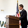 Sr. Cadet Wyatt Pressnell, a senior in the Pittsburg State University's ROTC program, gives his address during Monday's Veterans Day ceremony at the PSU Student Recreation Center. Pressnell enlisted in the Kansas Army National Guard in 2016, and will commission as a chaplain candidate upon graduation in May.<br /> Photo contributed by Pittsburg State | Sam Clausen
