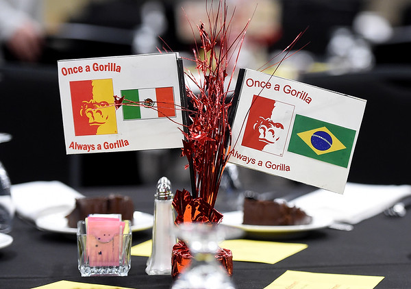 Centerpieces featuring flags from about 40 countries adorn tables during PSU's end of semester banquet for international students on Thursday night at PSU.<br /> Globe | Laurie Sisk