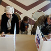 Bonnie and Robert Powell bring their great grandson Knox Connell, 2, with them to vote on Tuesday at The Civic in Neosho.<br /> Globe | Roger Nomer