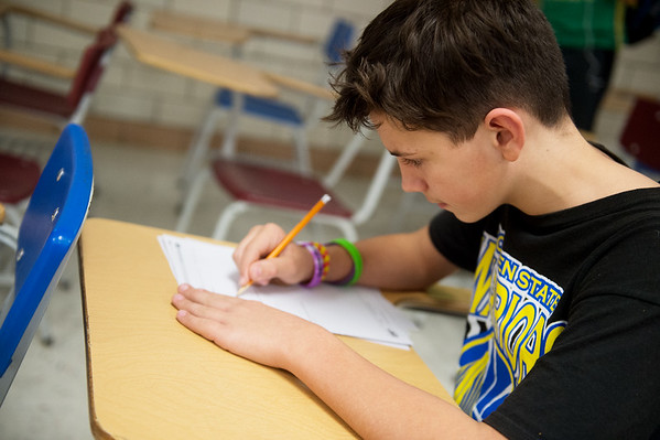 Michael Woodward, seventh grader at Sarcoxie Middle School, works during academic lab at Sarcoxie Middle School on Friday.<br /> Globe   Roger Nomer