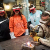 Jerry Bonebrake, welding instructor at Crowder College, demonstrates a welding technique for Neosho Junior High Students on Tuesday at the Dell Reed Technical Education Center at Crowder College.<br /> Globe | Roger Nomer