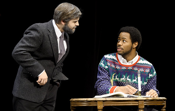 """From the left: Cameron Centobie (as Ebenezer Scrooge) and Hulon J. Smith (as Bob Cratchit) rehearse their roles for the upcoming Missouri Southern Theatre production of  """"A Christmas Carol"""" on Tuesday at MSSU. The Christmas classic opens Nov. 20 at the Bud Walton Theatre.<br /> Globe 