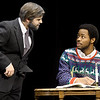 "From the left: Cameron Centobie (as Ebenezer Scrooge) and Hulon J. Smith (as Bob Cratchit) rehearse their roles for the upcoming Missouri Southern Theatre production of  ""A Christmas Carol"" on Tuesday at MSSU. The Christmas classic opens Nov. 20 at the Bud Walton Theatre.<br /> Globe 