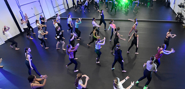 Dancers learn how to dance for the camera during a session led by Steve Ewing, of Industry Xperience on Saturday at Karen's Dance Studion. Five professional dancers shared their talent and knowledge with kids of all ages in the day-long event.<br /> Globe   Laurie Sisk