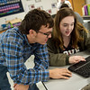 Dylan Heckmaster and Natalie Clark, juniors at Sarcoxie High School, work on a project in biology class at Sarcoxie High School on Friday.<br /> Globe | Roger Nomer