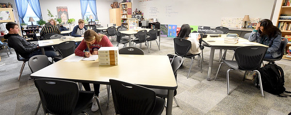 Joplin High School students take practice ACT tests in reading on Wednesday during an ACT test prep class at Joplin High School.<br /> Globe | Laurie Sisk