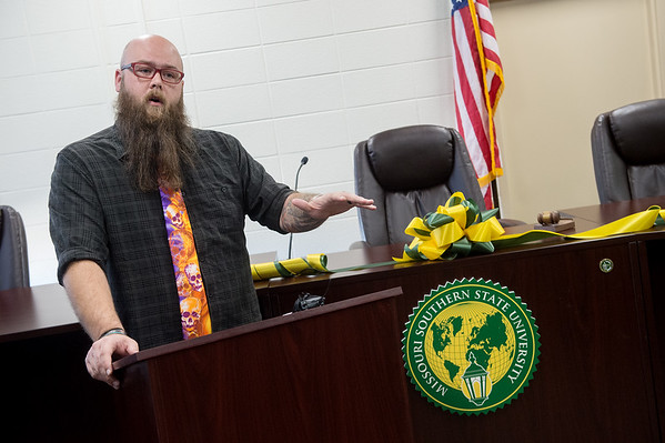 Mikh Gunderman, associate professor of criminal justice at Missouri Southern State University, talks about the new mock courtroom at MSSU on Tuesday.<br /> Globe | Roger Nomer