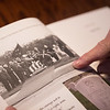 Ron Mosbaugh shows a photo of the funeral of Admiral Nimitz, which he was unable to attend.<br /> Globe | Roger Nomer