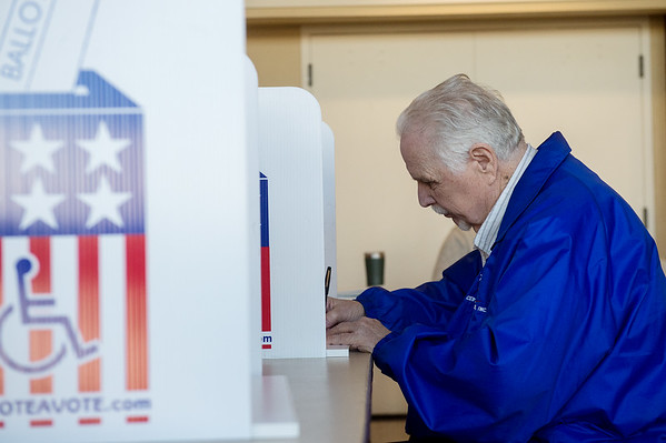 Jerry Seigel votes on Tuesday at The Civic in Neosho.<br /> Globe | Roger Nomer