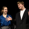 """From the left: Sage Cranford and Gavin Phillips rehearse their roles for the Webb City High School production of """"Elf,"""" which opens Thursday night at WCHS. The cast and crew are collecting toys to benefit children.<br /> Globe 