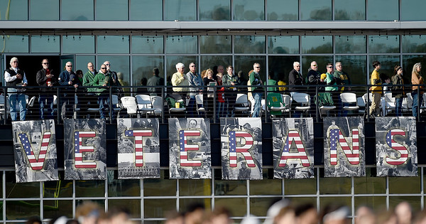 Large banners honor veterans at Fred G. Hughes Stadium on Saturday as part of Veterans Week at Missouri Southern. The university is planning a series of various events throughout the week to honor veterans.<br /> Globe | Laurie Sisk