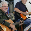 Globe/Roger Nomer<br /> Gary Kyger, left, and Jesse Johnson play with the Geriatric Three Plus One at the Joplin Senior Center on Wednesday morning.
