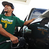 Austin White of Webb City, fills the tank on his pickup truck Thursday afternoon, Oct. 3, 2013, at the Fastrip on Duquesne Road, just north of Missouri Southern State University. White, who is an MSSU baseball player said the cheaper gasoline price helps when he gives his teammates a ride to practices.<br /> Globe | T. Rob Brown