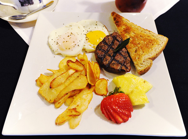 A steak and eggs meal from the brunch menu at Club 1201, located at 1201 E. 32nd St., Joplin.<br /> Globe | T. Rob Brown