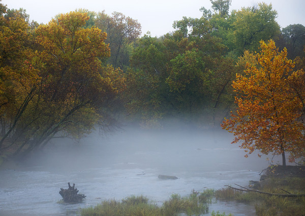 Globe/Roger Nomer<br /> Autumn colors begin to show on a foggy afternoon along Shoal Creek.