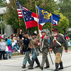 Civil War reenactors march the parade route on Saturday at the 50th Annual Maple Leaf Parade in Carthage.<br /> Globe | Laurie Sisk