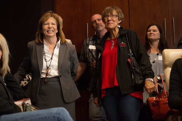 Globe/Roger Nomer<br /> Kansas City University of Medicine and Biosciences Dean Paula Gregory, left, talks about the new facility with tour participants including Nancy Walters, a realtor with Keller Williams, on Friday.