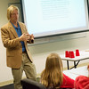 Globe/Roger Nomer<br /> Thomas Payne, director of Phi Beta Lambda College and University Relations, talks with middle school students during Wednesday's Middle-Level Leadership Day at Billingsly Student Center.