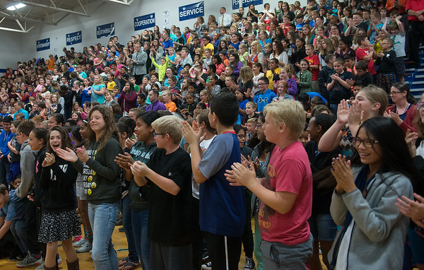 Globe/Roger Nomer<br /> Students welcome Gov. Jay Nixon on Tuesday to Carthage Middle School.