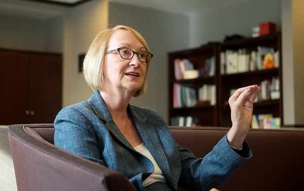 Globe/Roger Nomer<br /> Cottey College President Jann Weitzel talks about her vision for the college during an interview on Thursday at the college.