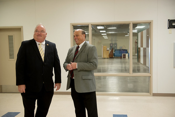 Globe/Roger Nomer<br /> Congressman Billy Long and Rob O'Brian, Joplin Area Chamber of Commerce president, tour the new Advanced Training and Technology Center on Friday.