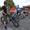 "Five bicycle enthusiasts depart on a social ""Tuesday 10"" ride on Tuesday night at Blue's Bike Co.<br /> Globe 