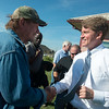 Globe/Roger Nomer<br /> Missouri Attorney General and Democrat candidate for governor Chris Koster greets Fred Coombes, a tornado victim who spoke at Monday's press conference in Joplin.