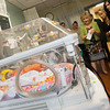 Globe/Roger Nomer<br /> Judges tour the Freeman NICU on Thursday, viewing Aubree Huckabee's candy corn costume, and other babies dressed for Halloween. The annual event at Freeman is sponsored by the Children's Miracle Network. All babies received treats from the organization, and Huckabee won a special prize for Judge's Choice.