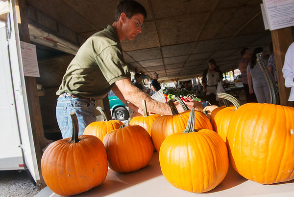 Globe/Roger Nomer<br /> Greg Braker, of Braker Berry Farm in Nashville, labels pumpkins and gourds on Tuesday at the Webb City Farmers Market.