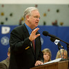 Globe/Roger Nomer<br /> Gov. Jay Nixon gives a speech at Carthage Middle School on Tuesday morning.