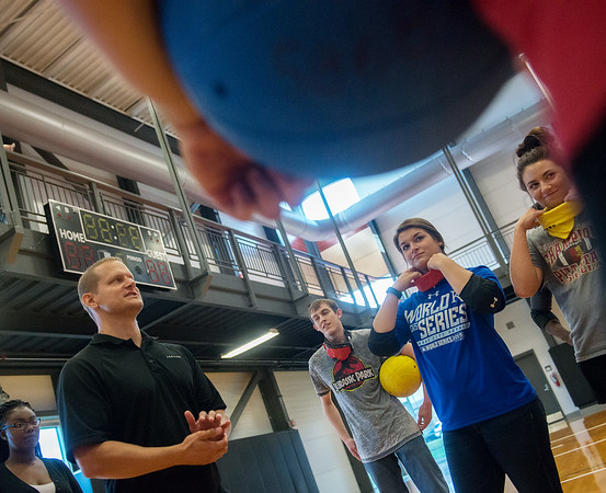 Globe/Roger Nomer<br /> Paralympian Jim Debus talks about Goalball as Pittsburg State students prepare their blindfolds on Tuesday at the PSU Student Rec Center.
