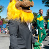 Roary the Lion joins the festivities during the Missouri Southern Homecoming Parade on Saturday at MSSU.<br /> Globe | Laurie Sisk