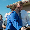 Globe/Roger Nomer<br /> Missouri Attorney General and Democrat candidate for governor Chris Koster hugs Krista Stark after her remarks on Monday at a press conference in Joplin. Stark is a Joplin tornado victim who spoke against a politcal ad addressing the tornado.