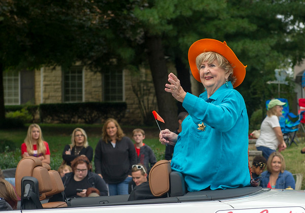 Grand MArshall Betty Bell makes her way down the parade route on Saturday at the 50th Annual Maple Leaf Parade in Carthage.<br /> Globe | Laurie Sisk