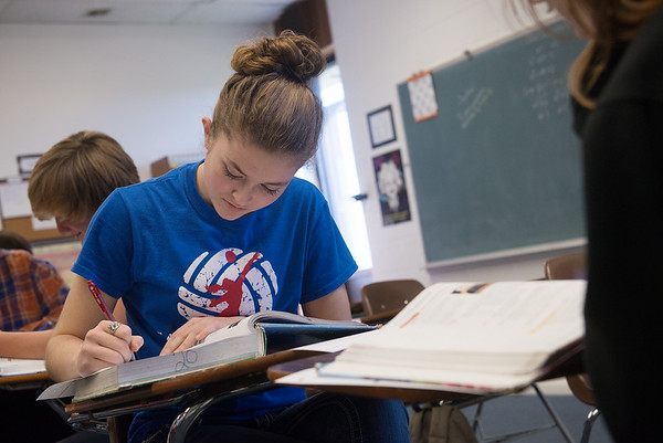 Globe/Roger Nomer<br /> Shelby Hance, East Newton senior, participates in an Algebra 2 class on Monday at East Newton High School.