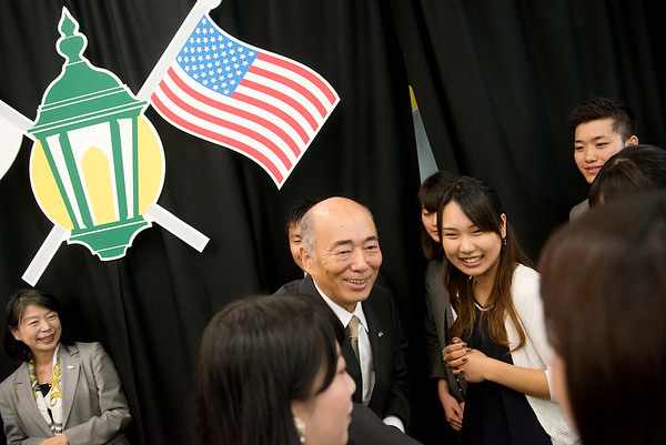 Globe/Roger Nomer<br /> Ambassador Kenichiro Sasae meets Missouri Southern Japanese students on Thursday.