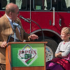 Joplin mayor Mike Seibert introduces eight-year-old Lillian Brown during ribbon cutting ceremonies for the 20th Street viaduct on Tuesday afternoon. Brown, who lives within sight of the bridge, shares a birthday with the original scheduled opening of the bridge on June 8. Brown considered the opening a birthday present and on Tuesday, Seibert presented Brown with her belated brithday gift.<br /> Globe | Laurie Sisk