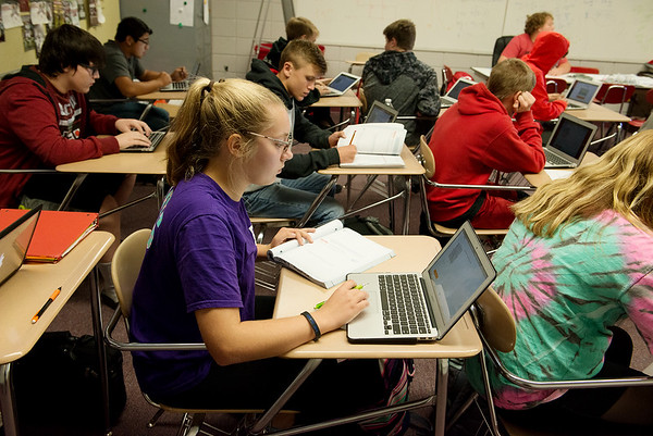 Globe/Roger Nomer<br /> Cailey Woznick, Baxter Springs High School freshman, studies during algebra class on Thursday at the school.
