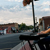 Globe/Roger Nomer<br /> Neil Hoffaker, Joplin, plays music for runners in downtown Galena on Sunday morning.