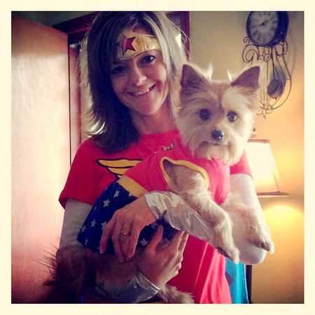 Contributed Photo<br /> Amy Graskemper and her dog Lily dressed as Wonder Woman for 2013 Breast Cancer Walk in Carl Junction.