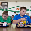 Globe/Roger Nomer<br /> Trenton Menear, left, and Trenton Mead, sixth graders, eat lunch at Mt. Vernon Middle School on Wednesday.