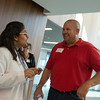 Globe/Roger Nomer<br /> Tamara Thevarajah, a first-year student at Kansas City University of Medicine and Biosciences Joplin from Denver, talks with Tyler Pargen during a tour of the facility on Friday.