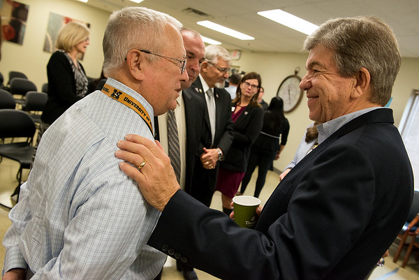 Globe/Roger Nomer<br /> Sen. Roy Blunt talks with Dwight Douglas, general counsel at Freeman Health System, following his talk on the Excellence in Mental Health Act on Wednesday at the Ozark Center INSPIRE Center.