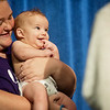 Globe/Roger Nomer<br /> Chelsea and Ronald, 4 months, Nuse, Sarcoxie, share the same smile as they present for the judges during Saturday's Maple Leaf Baby Pageant.