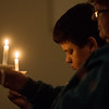 Globe/Roger Nomer<br /> Koda, 13, and his grandmother Peggy Oldham, Carl Junction, pray for victims of the Las Vegas shootings on Monday at Fir Road Christian Church in Carl Junction.